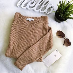 MADEWELL Camel Tan Textured Cotton blend sweater